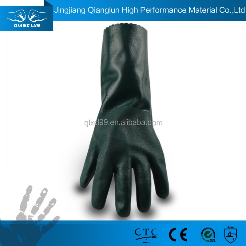 QL PVC coated low price heavy duty chemical resistant gloves