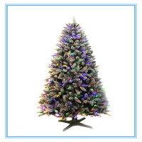 210cm flocked snowy with colorful led light brightly pre-lit artificial christmas tree with red berries and cones decoration