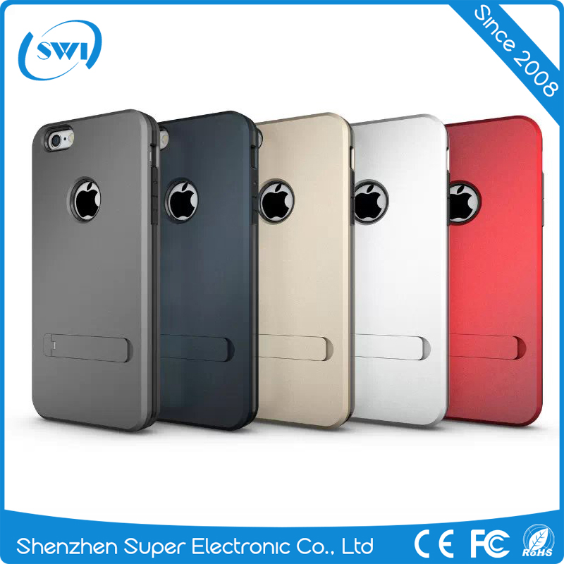 custom case for iphone wholesale,Metal hard armor cellphone case with stand for iphone 6 6s