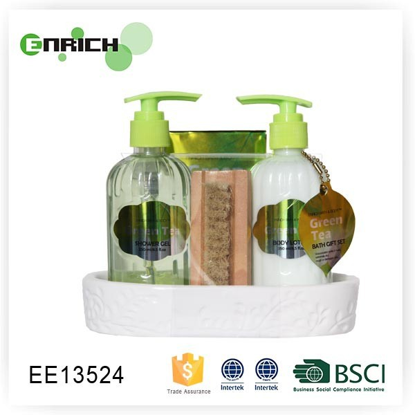 Ceramic Dish green tea shower gel Bath Gift Set with wooden nail brush