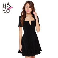 2015 Women Fashion A Line Dresses Sexy Black Dress for Wholesale Haoduoyi