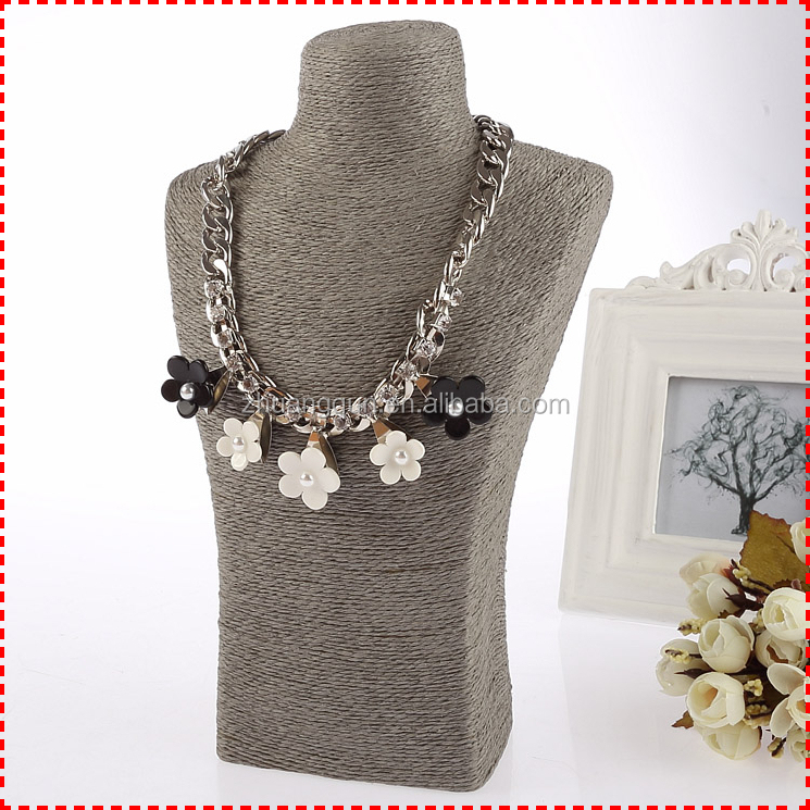ZQX32-35 New High end cotton rope necklace display mannequin bust, long necklace jewelry displays
