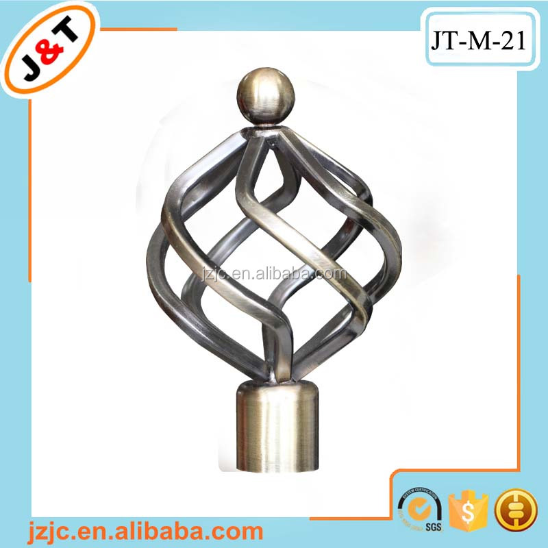 decorative 24k luxury ring stainless steel folding curtain rod, motorized curtain rod end caps