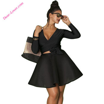 Women Black Wrap Tie Long Sleeve Top Plus Size Skater Dress