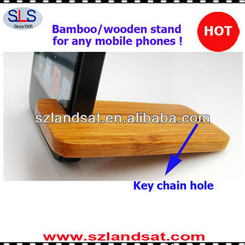 good christmas promotional products 100% real bamboo wooden phone stand for all smartphones BS68