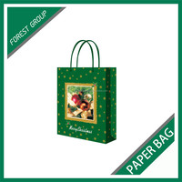 CUSTOM MADE LOVELY DECORATIVE CHRISTMAS GIFTS PACKING PAPER BAGS WITH HANDLE