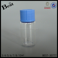 1/6 ml clear glass vial screw top with blue plastic cap