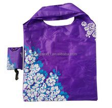 Flower Printing Folding Shopping Bag Purple Fold Up Reusable Bag Hanging Polyester Shopping Bag