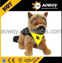 China Factory plush German Shepherd Puppy P01S035 stuffed toy with custom imprinted logo bandana