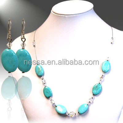 Fashion turquoise bead necklace handmade jewelry raw material NSNK-28251