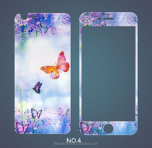 Butterfly design anti-scratch front and back drawing painting tempered glass film for iphone 6s, China wholesaler