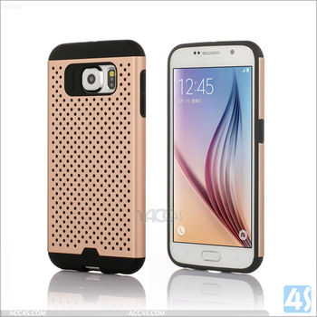 Top quality Fashion net TPU PC 2 in 1 combo case for samsung galaxy S6 Edge Plus