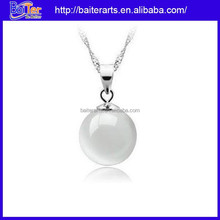 Fashion platinium plating 925 sterling silver white round pearl pendant mounting pendant