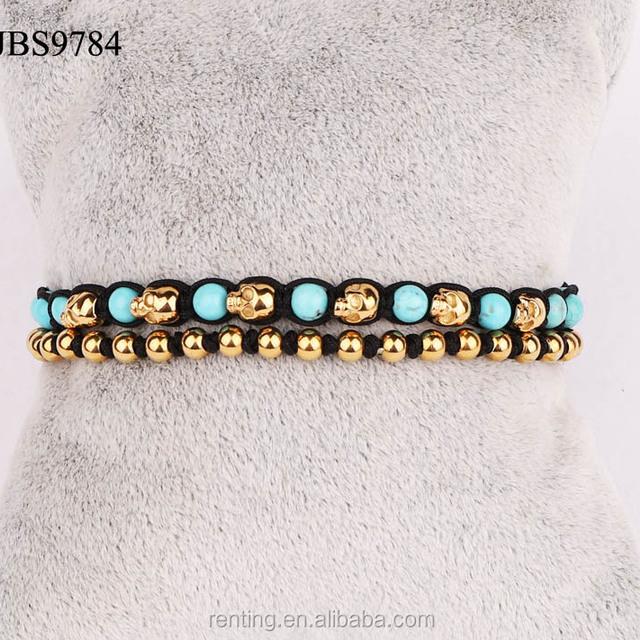 100% natural turquoise stone gold stainless steel skull beads bracelet