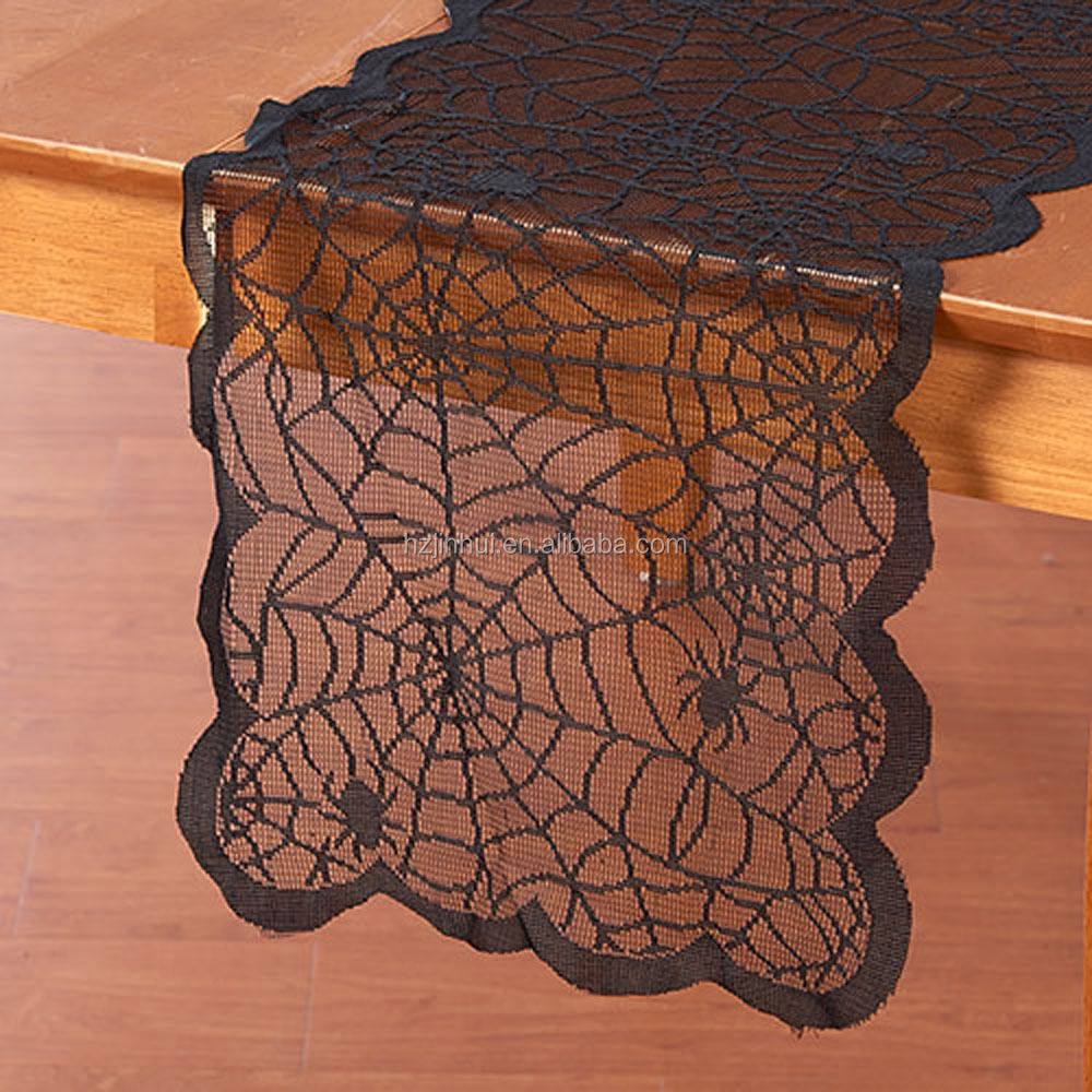 spider web lace halloween table runner mantle scarf