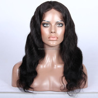 18 Inch Natural Wave Virgin Brazilian human hair clip in hair half wig