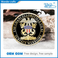 Factory directly sale promotional cheap custom design diamond edged engraved soft enamel metal alloy gold plated tungsten coin