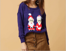 C50345A Women's cartoon Christmas couple drop shoulder knit sweater