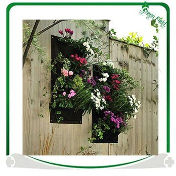 Black Felt Fabric Vertical Garden Wall Grow Bag
