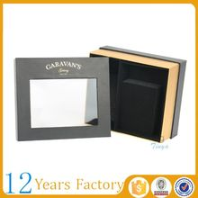 black custom logo cellophane window gift boxes