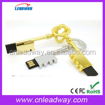 2017 new product silver color gold color usb flash drive key shape