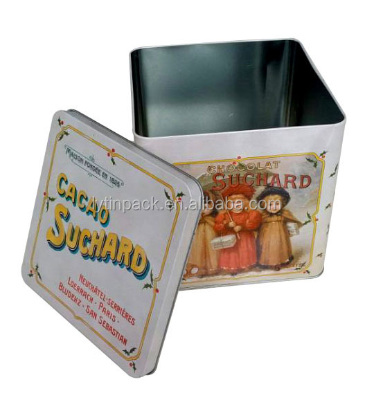 food grade Square Tin Container Antique metal tin box