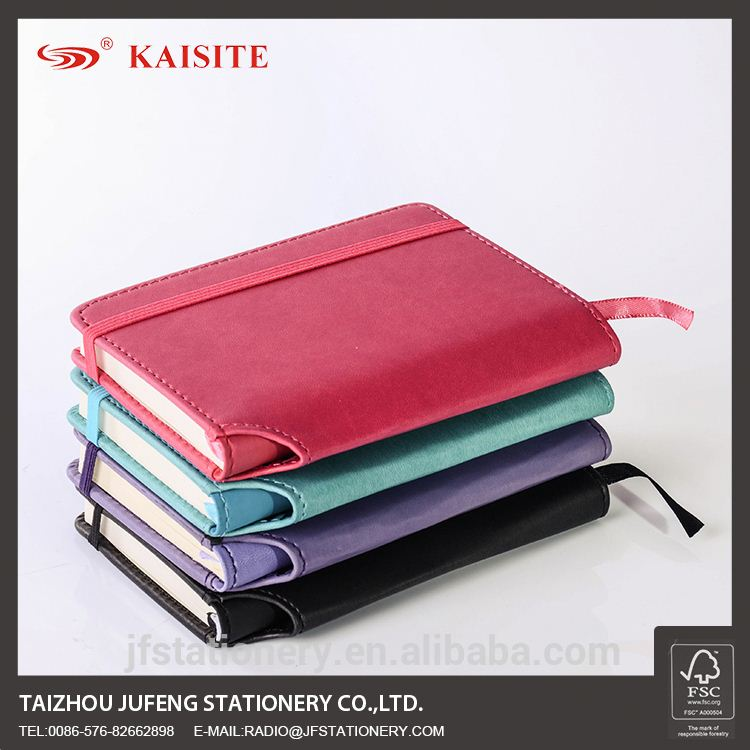 A6 writing journal PU notebook with pen holder and elastic band
