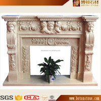 Fireplace with Floral Design, Decorative Flame Electric Fireplace Mantel Surround