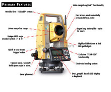 "prismless total station surveying topcon es-102 reflectorless 2"" angle accuracy estacion total"