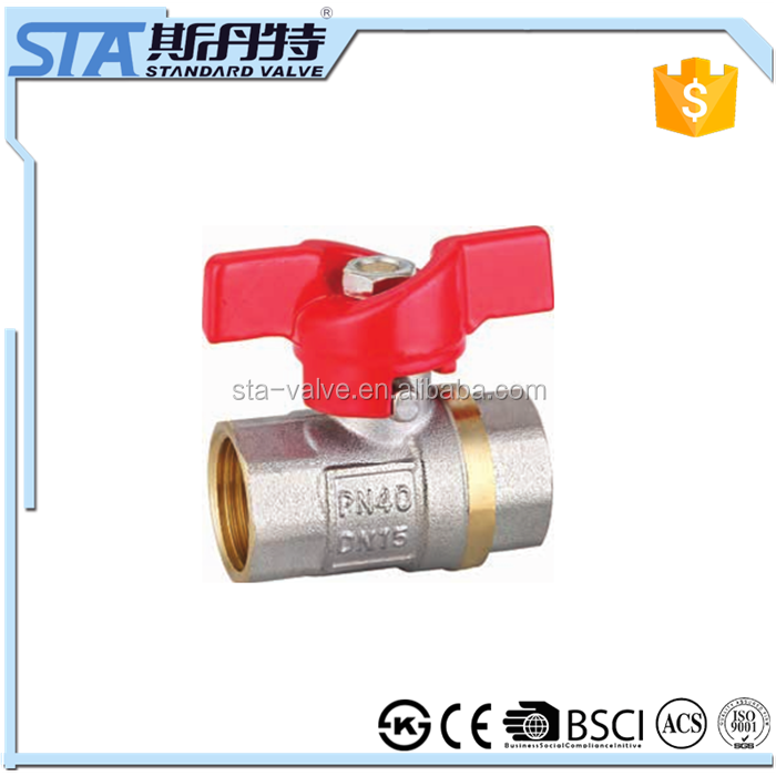 ART.1024 Inside double female NPT threaded butterfly handle 1/2 inch DN15 STA supplier copper screw connection brass ball valve