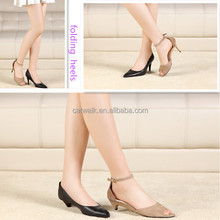 Removable heels pumps pointed toe new coming folding style ladies walking shoes