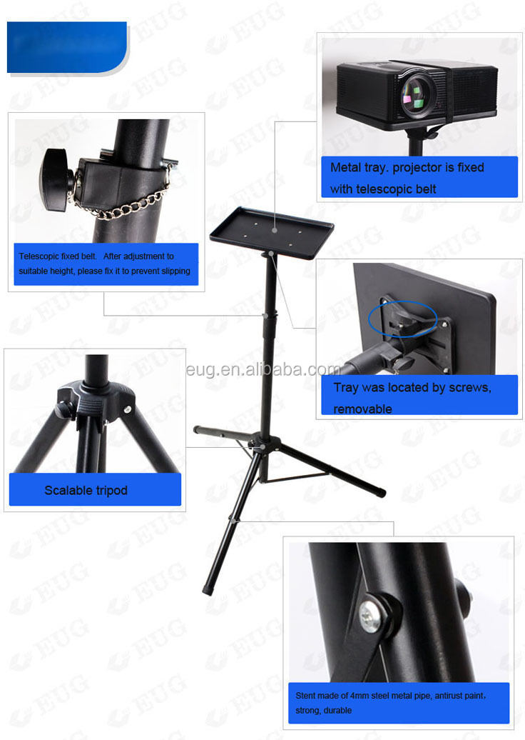 Digital home movie video projector black tripod