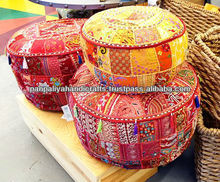 Indian ottomans poufs,Vintage fabric embroidered ottomans covers Wholesalers Bohemian Indian Ottomans/Stools
