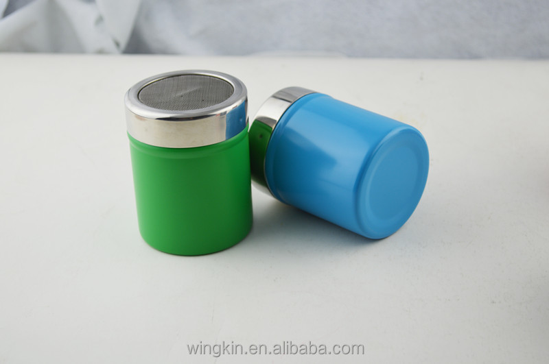 Colorful stainless steel salt and pepper shakers with mesh Colorful salt and pepper shakers