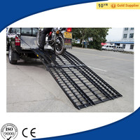Black Big Folding Aluminum Motorcycle, ATV, UTV, Lawn & Garden Loading and Unloading Ramp System with 3 Pieces