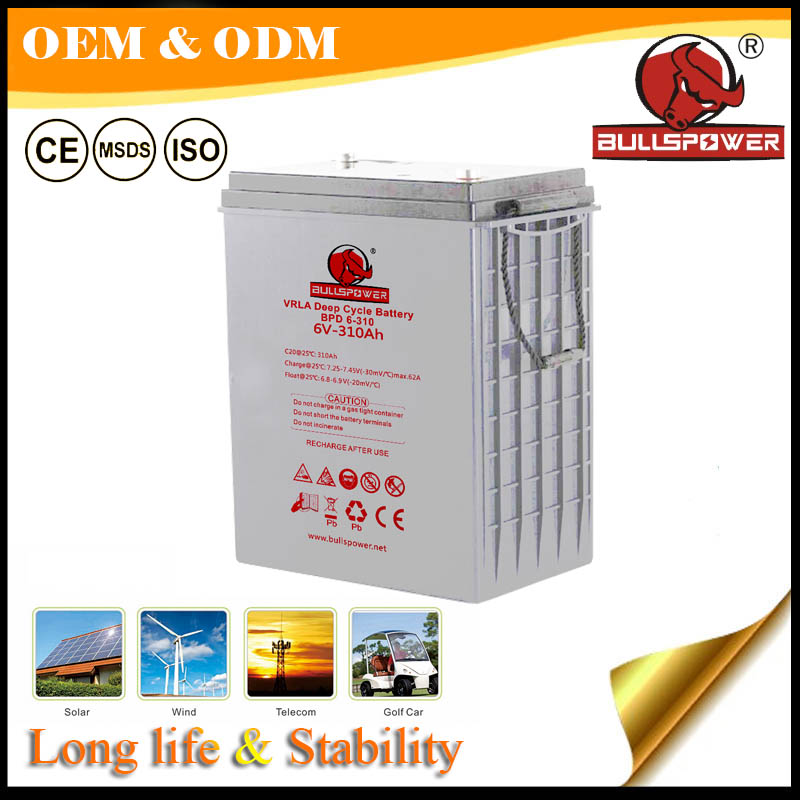 6v Rechargeable agm deep cycle solar energy storage battery 330ah