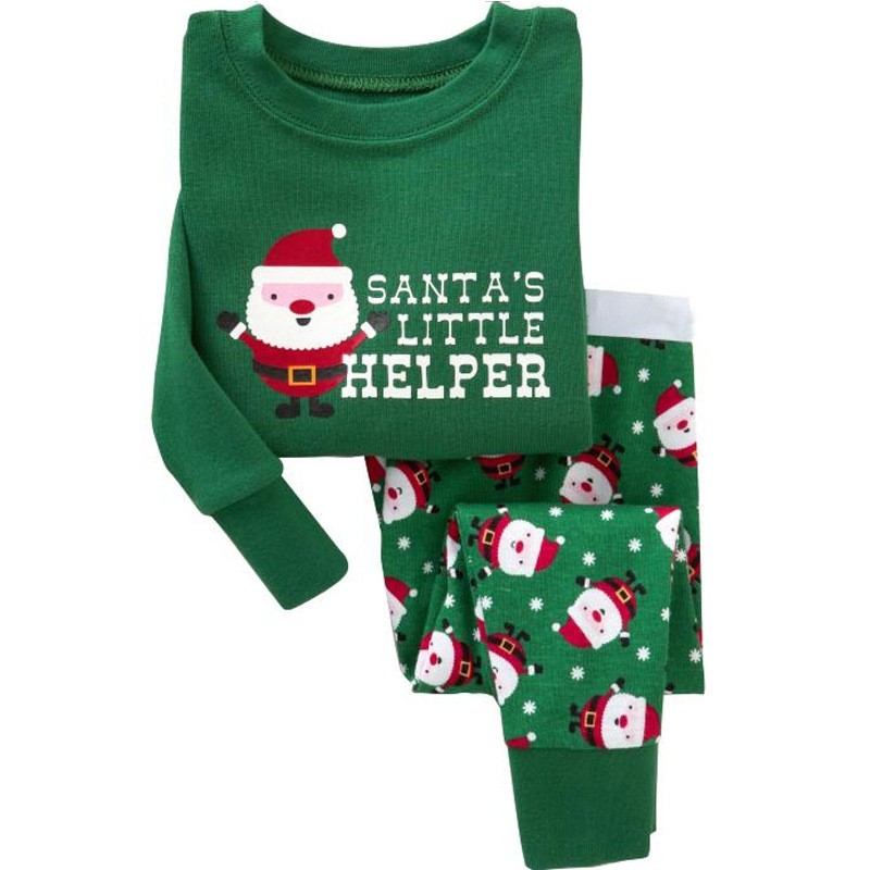 High Quality Green Tree Father Christmas Embroidery Kids Christmas Suit