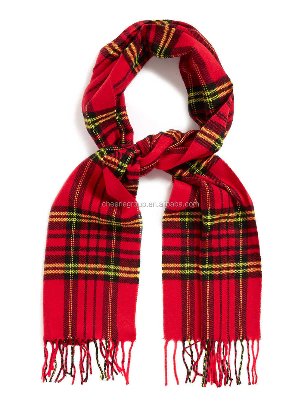 hotselling neckerchief red check woven scarf