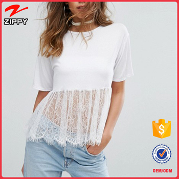 short sleeve white Lace Hem crop top lady blouse for women