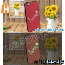 New Arrived Noctilucent Embossed Pattern Design Sweet Love Letter Pattern PC Hard Case Cover for iPhone 5 5S PC Case