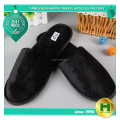 Polyester Velvet Pile Hotel Slippers / Black Washable Velour Pile Eco-friendly Spa Slippers / Fashion Diamond EVA Sole Slippers