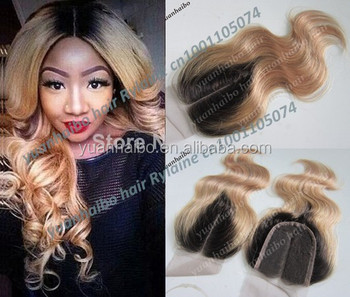 "Top quality 6a 3.5x4"" 1b/27# peruvian virgin human hair blonde ombre lace closure middle parting"