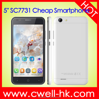 New arrival Kimfly M3 5.0 Inch SC7731C Quad Core 512MB RAM 8GB ROM Cheap Price Android Smart Phone with GPS bluetooth wifi