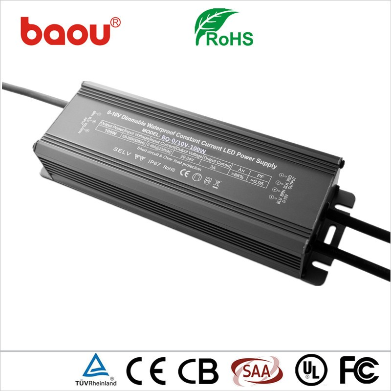 Baou constant current waterproof led driver 100w 700ma dimmable
