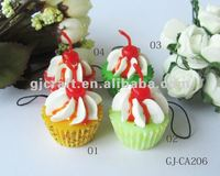 Simulation food Cup cake decoration key chain/phone straps/promotional gift set