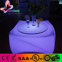 Wholesale PE plastic glowing led straight bar table with ice bucket,led light bar table