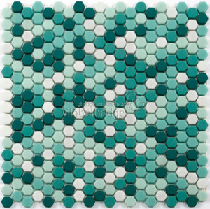3D anti-slip colorful enamel mosaic recycle glass home mosaic tiles
