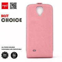 Custom mobile flip case for samung smart S4 with smooth leather and built-in magnet