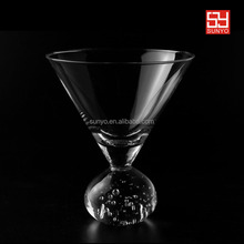 Air bubble ball stem leadfree customized size open wide mouth clear transparent martini glass