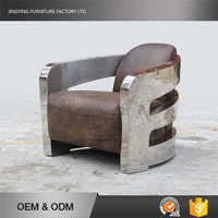 Stainless Steel Arms Leather Material Modern